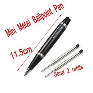 Luxury Mini Full Metal Short Ballpoint Pen With 2 Refills 0.7mm Black And Blue