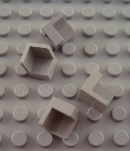 LEGO Lot of 4 Light Gray 1x1x1 Corner Panel Pieces