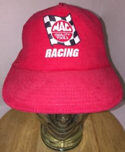 aadb64428af Vintage MAC QUALITY TOOLS RACING 80s Red Corduroy Mesh Trucker Hat ...