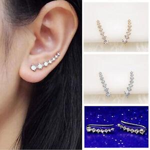 Fashion Womens Rhinestone Gold Silver Crystal Earrings Ear Hook Stud Jewelry