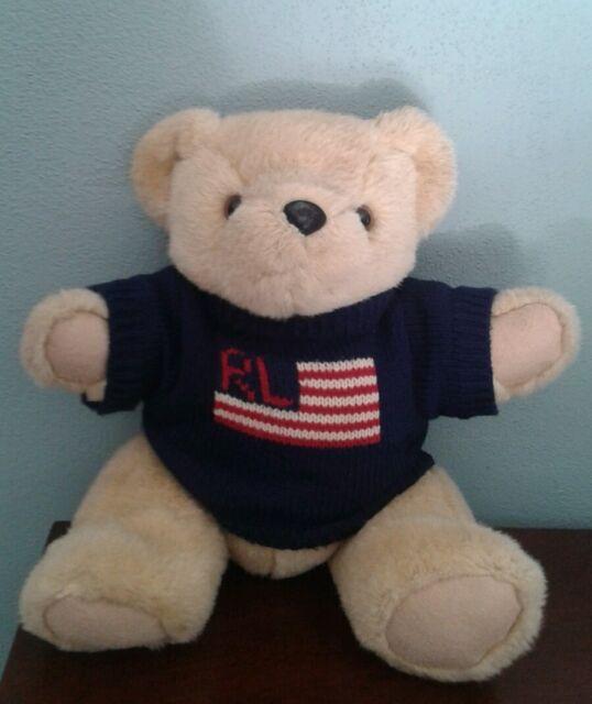 "VTG Ralph Lauren Polo Flag Sweater 14"" Teddy Bear Jointed Stuffed USA Plush 1996"