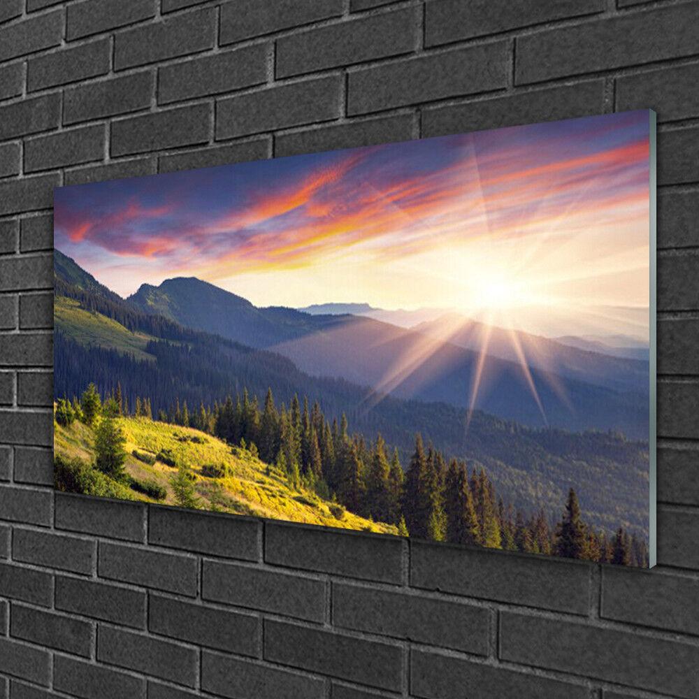 Tableau sur verre Image Impression 100x50 Paysage Forêt Montagne Soleil