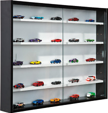 Glass Display Cabinet Black Shelving Unit Wooden Wall Cupboard Toy Train Car NEW