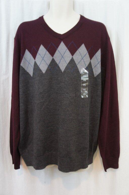 e863ff31acf Club Room Mens Sweater Sz XXL Plum Argyle Print Merino Wool Blend Casual  Red nkueqr21420-Jumpers   Cardigans