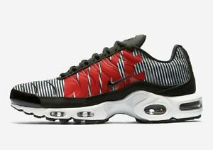 Details about Nike Men's Air Max Plus TN SE Striped Black White Red Pure Platinum AT0040 001