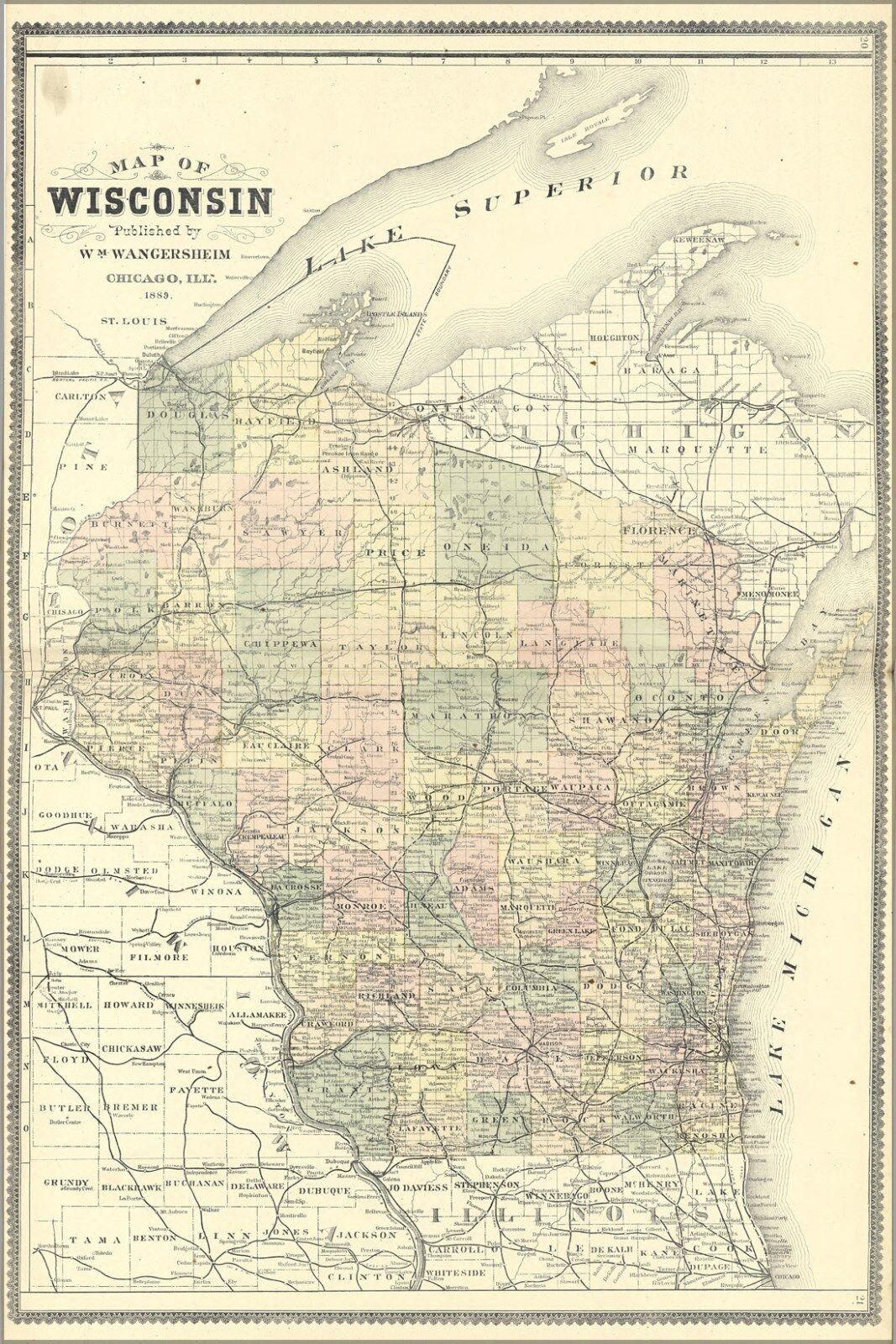 Plakat, Viele Größen; Karte von Wisconsin 1889