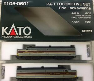 Kato-N-Scale-PA-1-Loco-Set-Erie-Lackawana-106-0601-A-Unit-855-B-Unit-861