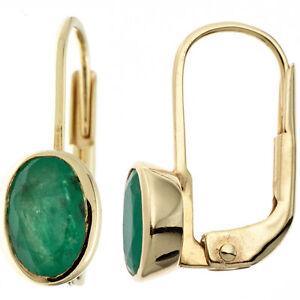 Boutons-oval-333-Gold-Gelbgold-2-Smaragde-gruen-Ohrringe-Ohrhaenger-Goldohrringe