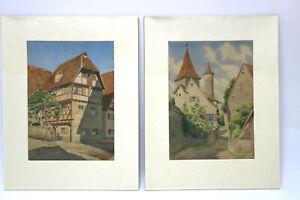 2-Aquarelle-Fraenkisches-Dorf-Fachwerkhaus-Turm-Kirche-Monogrammiert