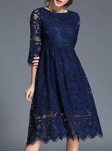 978fe0af41a1 Elegante raffinato vestito abito lungo blu notte pizzo manica lunga ...