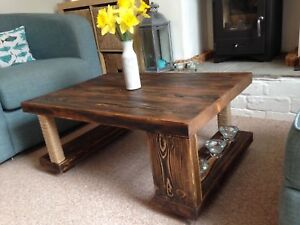 Details About Coffee Table Solid Wood Oak Walnut Rustic 90x60 Chunky Handmade Distressed