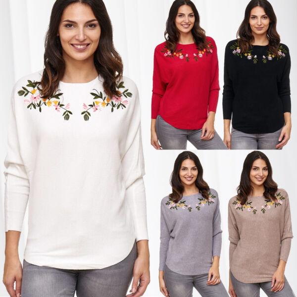 Damen Langarm Sweat Shirt Pullover Longsleeve Strick Herbst Winter Blumen Muster