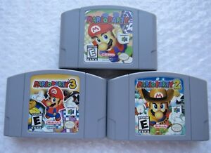 Official-Nintendo-64-N64-OEM-Authentic-Mario-Party-1-2-3-Carts-Super-Rare-GREAT