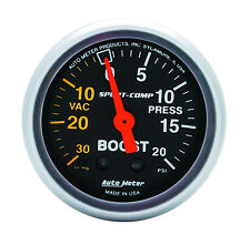 "Auto Meter 3301 Sport-Comp Mechanical Turbo Boost / Vacuum Gauge 2 1/16"" (52mm)"