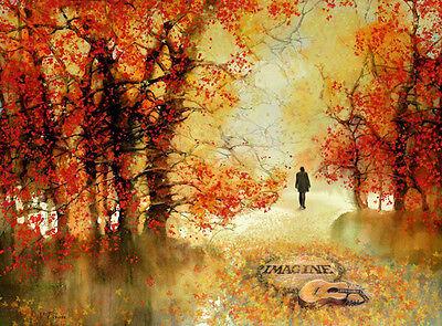 """BEATLES Strawberry Fields New York John LENNON Rock music Painting 16/""""x20/"""" Art."""