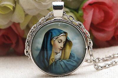 Pendant Necklace Glass Tile Necklace Virgin Mary, Jesus ady Jesus necklace