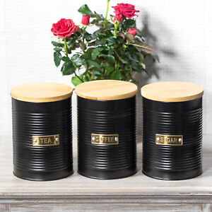 Image Is Loading Otto Matt Black Tea Coffee Sugar Canisters With