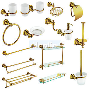 Gold-Towel-Rail-Rack-Bar-Shelf-Soap-Dish-dispenser-Toilet-Bathroom-Accessories