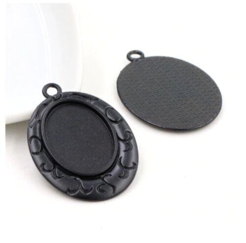5pcs 18x25mm Charm Black Oval Pendant Base Setting Cabochon Pendant Blank Trays
