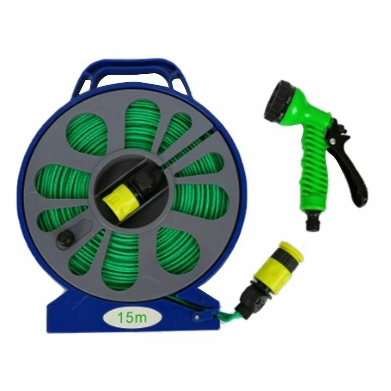 Garden Hose 50ft Outdoor Plants Watering Tools Pipe And Reel With Spray Nozzle