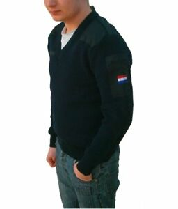 New Dutch army navy V neck wool sweater jumper pullover sweatshirt military