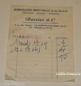 Ancienne-FACTURE-1955-QUINCAILLERIE-INDUSTRIELLE-de-la-Garenne-BARRIER-amp-Cie