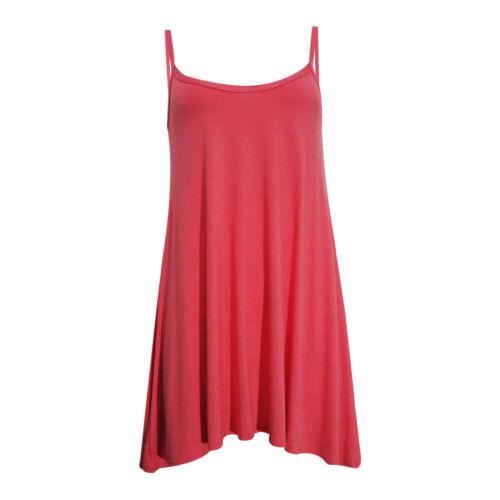 WOMENS LONG CAMI SWING DRESS CAMISOLE PLUS SIZE VEST TOP AZTEC TARTAN SKULL ROSE