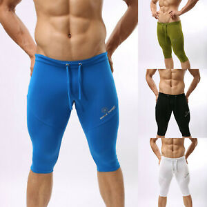 Men-Compression-Half-Tights-Fitness-Cycling-Running-Shorts-Trunks-Pant-Swimwear