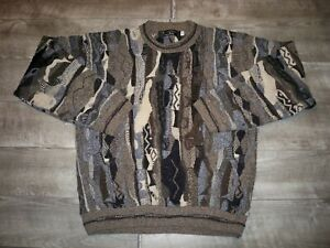 VTG-Protege-1990-039-s-Abstract-Hip-Hop-Biggie-Big-3d-Texturiert-Herrenpullover-Groesse-LT