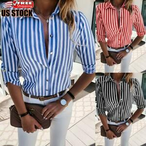 Women Casual Long Sleeve Tops Tee Blouse Ladies V Neck Striped Button Down Shirt