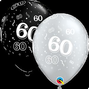 Image Is Loading Qualatex 60th Birthday Helium Balloons Age 60 Black