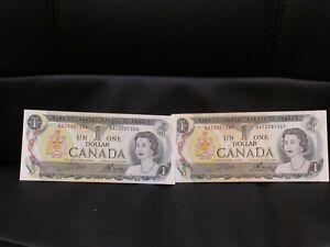 2-CRISP-1973-CANADA-ONE-DOLLAR-BILLS-IN-EXCELLENT-CONDITION-W-CONSECUTIVE-NOS