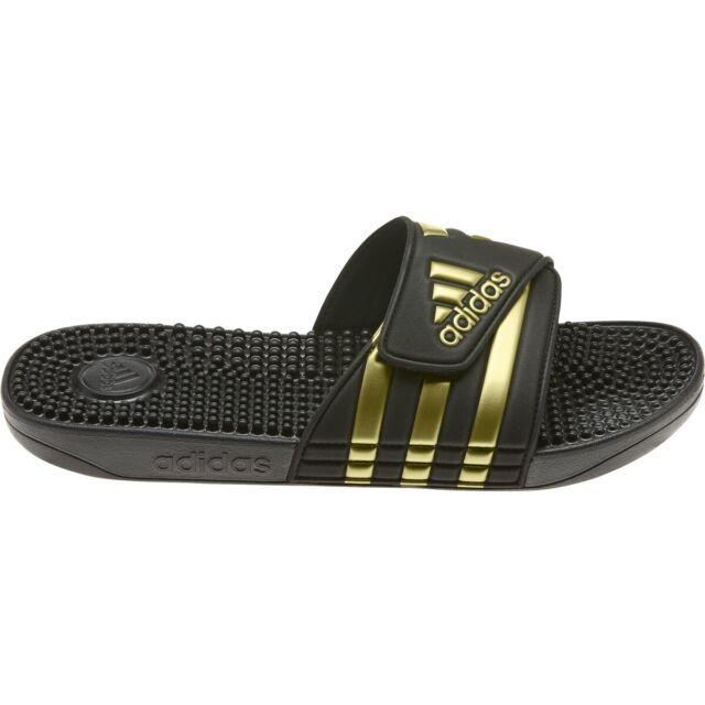 Mens Adidas Adissage Black Gold Slides Shower Sandals Athletic EG6517 Sizes 7 13