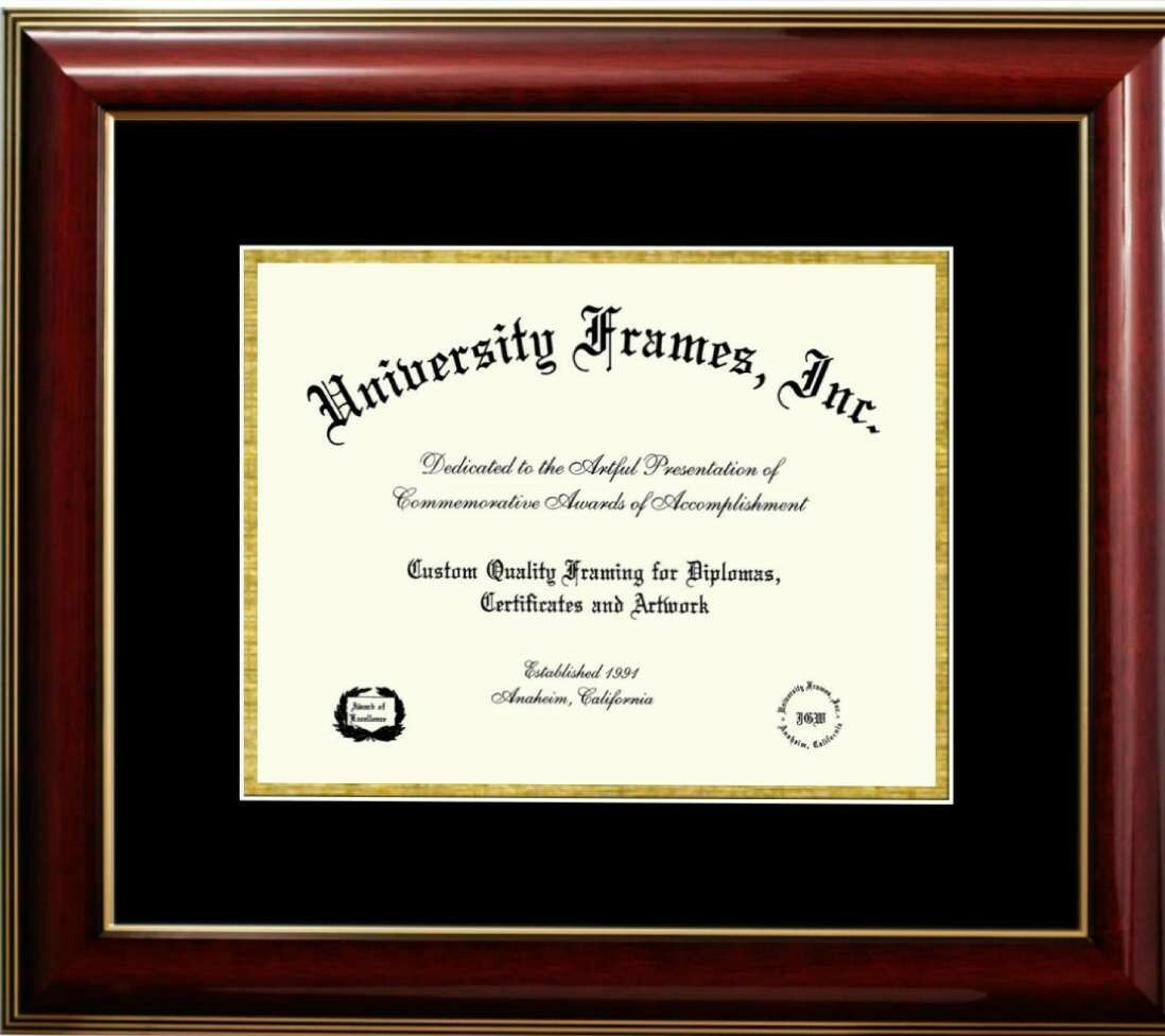 11x8.5 opening diploma frame, traditional mahogany frame with oro accent