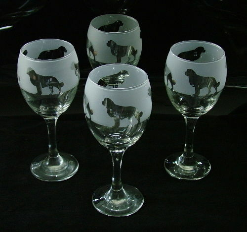 Bernese mountain dog gift Wine Glasses set of four..Boxed.