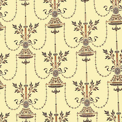 Dolls House Wallpaper 1/12th 1/24th scale Cream Vintage Quality Paper #185