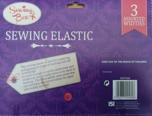 White Sewing Elastic Dressmaking Elasticated Knitting Widths 5mm 8mm 12mm 4MT