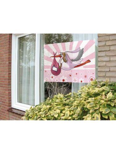 Taufe  Babyparty  Fahne rosa oder blau   neu Fensterfahne Storch für Geburt