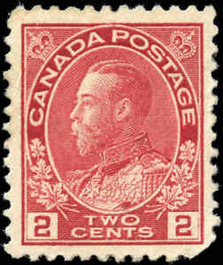 Mint-H-Canada-F-Scott-106-2c-1917-1922-King-George-V-Admiral-Stamp