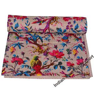 Indien-Traditional-Vintage-Baby-Quilt-Bird-Throw-Blanket-Bedspread-Kantha-Quilt