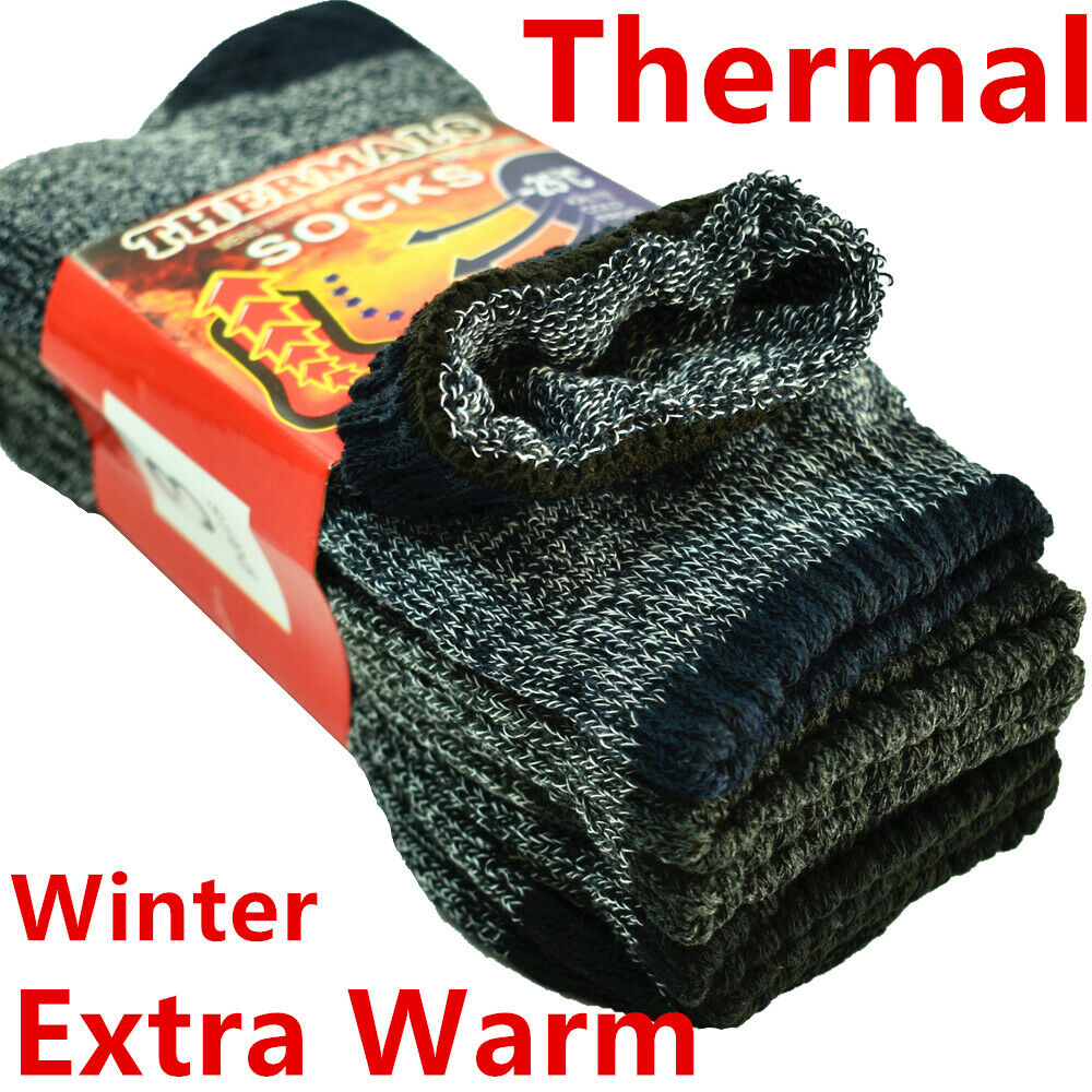 6 Pairs Mens Winter Thermal Warm Cotton Knitted Crew Work Boots Socks Size 9-13