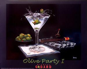 "Michael Godard ""OLIVE PARTY 1"" Martini-Olives-Cigar-Las Vegas-Party-Poster"