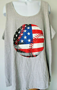 Men-039-s-GRAY-TANK-TOP-US-USA-America-4X-big-Tall-4xxxL-xlt-Baseball-American-Flag