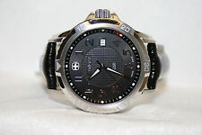Swiss Army Wenger 40mm GST Watch Stainless Black Leather Strap 78235