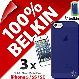 3x-New-Belkin-Protector-Fino-Mate-Funda-Rigida-AZUL-para-Apple-iPhone-5-5s-SE
