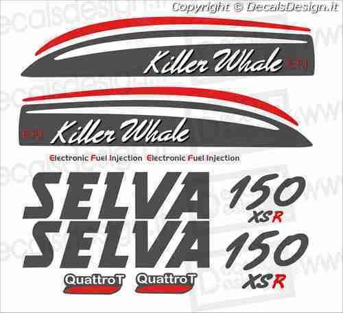 Adesivi motore marino fuoribordo Selva killer whale 150cv gommone barca stickers