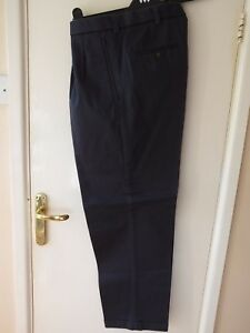 Double W33 Ups L29 Nav Mens Style Turn Vintage 40s 50s Trousers Pleat S 6qHHY