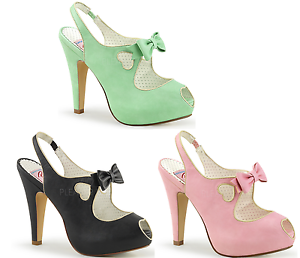 7c4a85b0a4a Details about Pin Up Couture BETTIE-03 Platform Peep Toe Sling Back Sandal