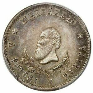 Potosi-Bolivia-1-4-melgarejo-1868-PCGS-AU53-Burnett-110-Fonrobert-unl