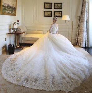 Shiny Long Sleeve A-Line Wedding Dress White Ivory Bridal Gowns ...